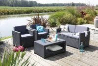 ausgefallene allibert 206459 lounge set monaco 2 sessel 1 sofa 1 tisch rattanoptik kunststoff anthrazit foto