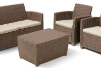 erstaunlich allibert 212405 lounge set corona mit kissenbox tisch 2 sessel 1 sofa 1 tisch rattanoptik kunststoff cappuccino foto