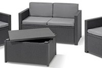 schone allibert 220025 lounge set monaco mit kissenbox tisch 2x sessel und 1x sofa rattanoptik kunststoff graphit foto