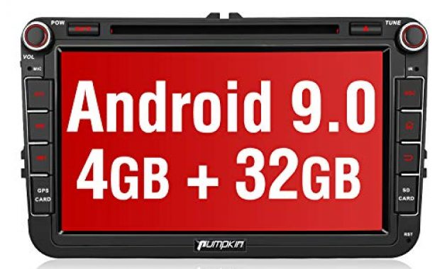 fantastische pumpkin android 90 autoradio fur vw radio mit navi 4gb 8 core unterstutzt bluetooth dab cd dvd wifi 4g android auto usb microsd 8 zoll bildschrim 2 din bild