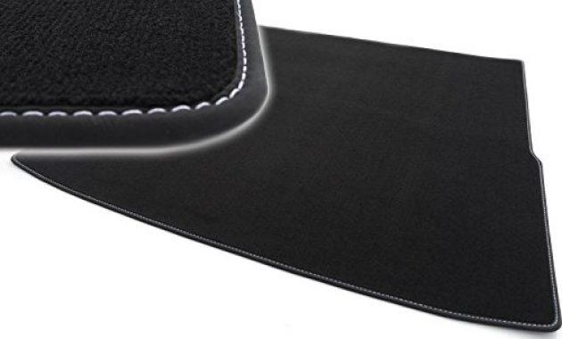 ausgefallene kh teile kofferraummatte velours automatte premium qualitat stoffmatte schwarz nubukleder einfassung mit weisser naht foto