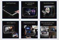 ausgezeichnete xtronsr 2x10 zoll tragbarer auto dvd player kopfstutze hd display 1024600 usb sd hdmi eingang mit 2 weiss kopfhorer foto