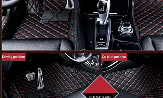 cool tuqiang auto fussmatten leder passt fur a udi q7 7 seats 2006 2015 3d volldeckung wasserdichte bodenmatten automatten schwarz mit rot bild