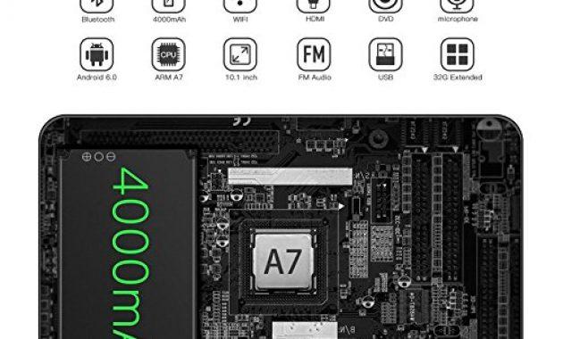 fantastische tablet android 60 i tragbarer dvd player 101 zoll i ips touchscreen autokopfstutze multimedia monitor i bluetooth 40 i eingebauter 4000mah akku unterstutzt hdmi fm wifi foto