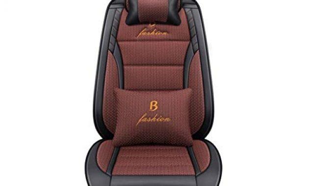 wunderbare ax sitzbezug komfortabler autositzbezug aus leder kompatibel mit atmungsaktiven airbag schutzpolstern vorne und hinten color brown foto