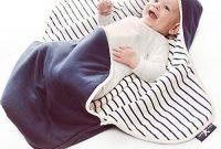 wunderbare wallaboo einschlagdecke coco sehr praktische und kuschelweiche babydecke 100 baumwolle 90 x 70 cm farbe blue stripe foto